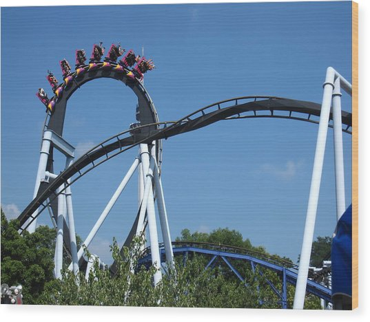Hershey Park - Great Bear Roller Coaster - 121213 Wood Print by DC Photographer