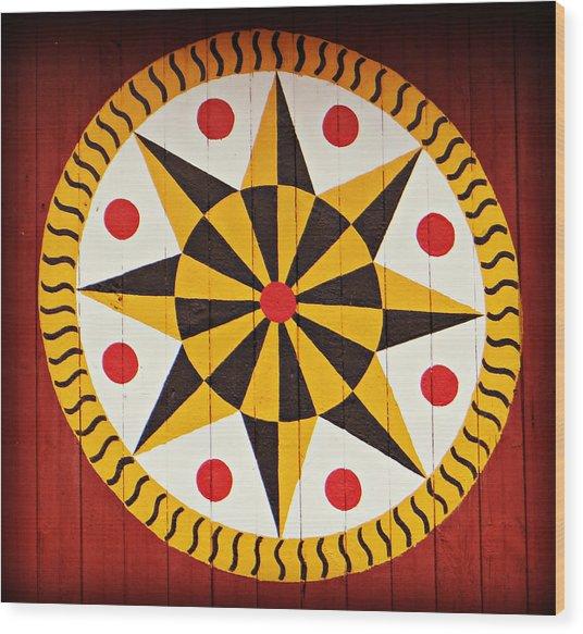 Hex 9 Wood Print