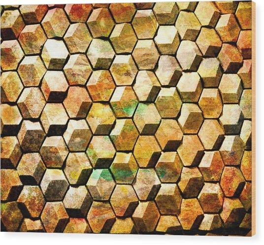 Hexacubes Wood Print