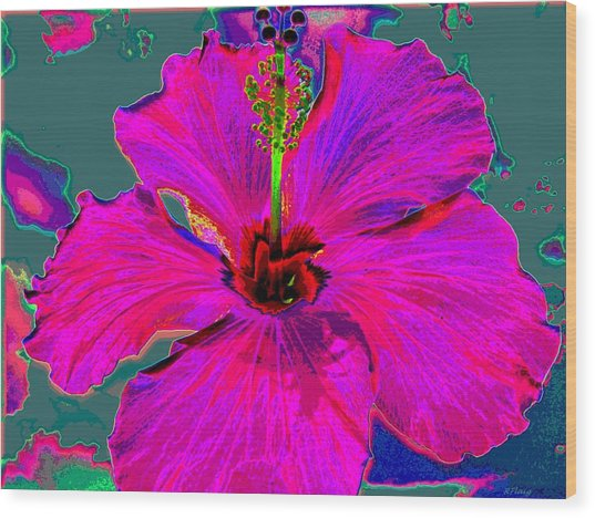 Hibiscus Skies Wood Print by Rebecca Flaig