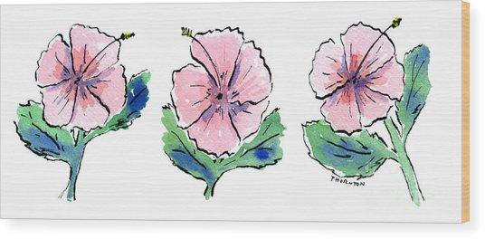Hibiscus Trio Wood Print