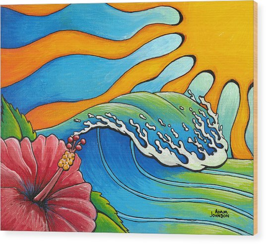 Hibiscus Wave Wood Print