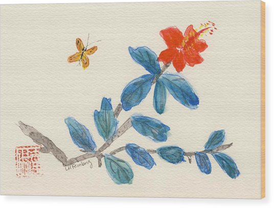 Hibiscus With Butterfly Wood Print