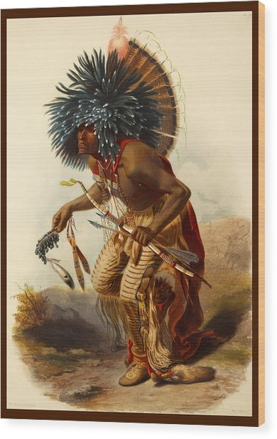 Hidatsa Warrior Wood Print