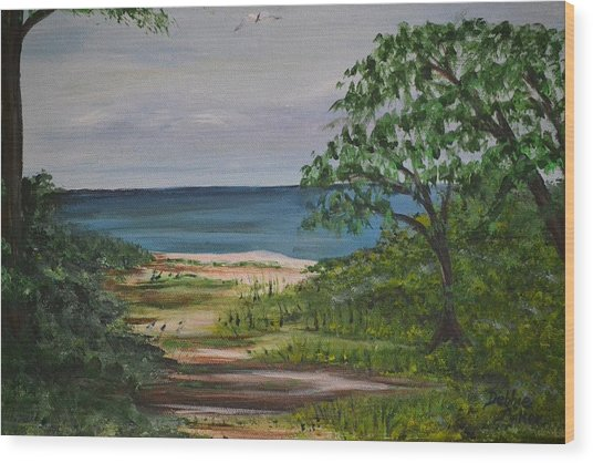 Hidden Beach Wood Print