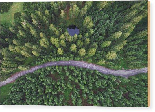 Hidden Lake Wood Print by Ales Krivec