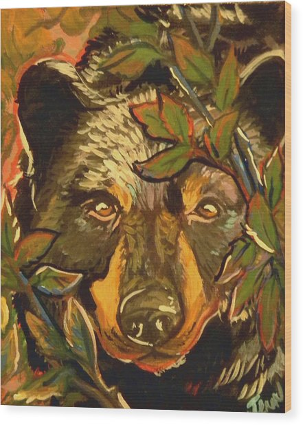 Hiding Bear Wood Print by Jenn Cunningham