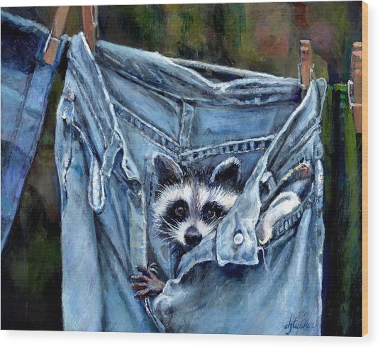 Hiding In My Jeans Wood Print