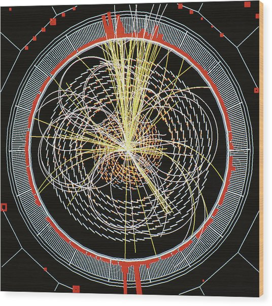 Higgs Boson Decay Model Wood Print by Cern/science Photo Library