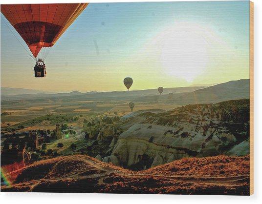 High Angle View Hot Air Balloons Wood Print by Ximena Guevara / Eyeem