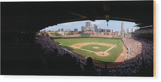 High Angle View Of A Baseball Stadium Wood Print