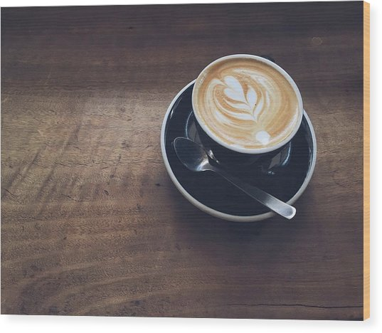 High Angle View Of Cappuccino On Wooden Wood Print by Eujin Goh / Eyeem