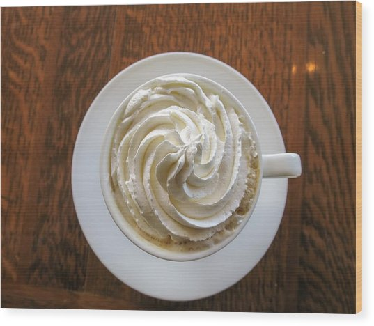 High Angle View Of Coffee With Whipped Wood Print
