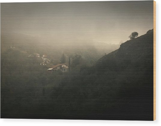 High Angle View Of Cosquin On Foggy Day Wood Print by Andres Ruffo / EyeEm