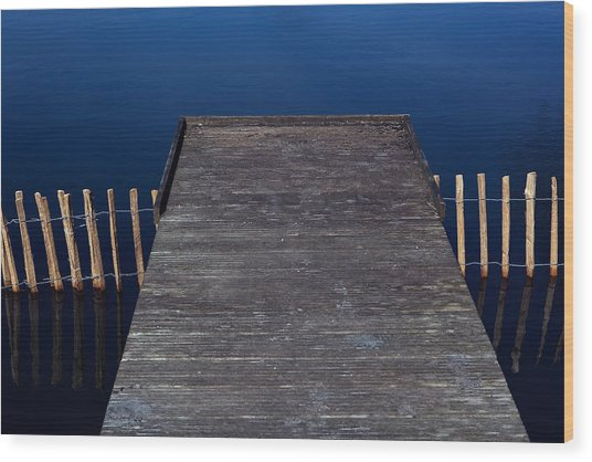 High Angle View Of Jetty Over Lake Wood Print by Paulien Tabak / EyeEm