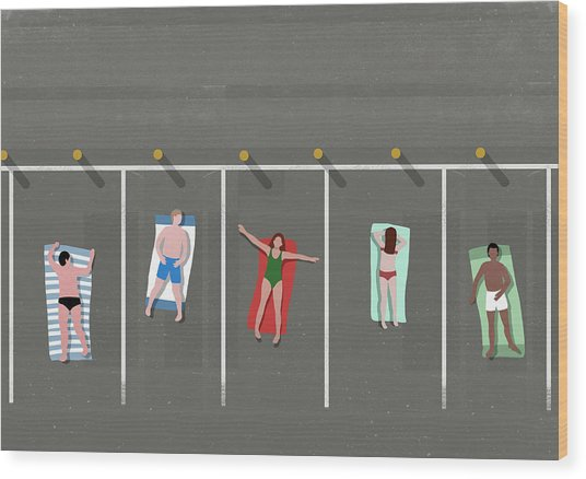 High Angle View Of People Sunbathing In Wood Print by Malte Mueller