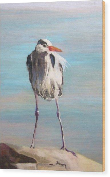 High Falls Heron Wood Print by Debbie Anderson