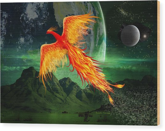 High Flying Phoenix Wood Print