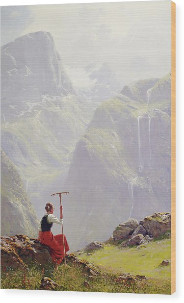 Wood Print featuring the painting High In The Mountains by Hans Andreas Dahl