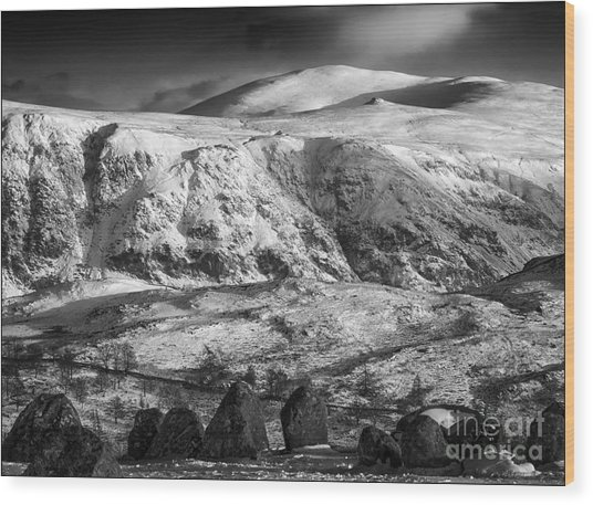 High Rigg From Castlerigg Stone Circle Mono Wood Print by George Hodlin