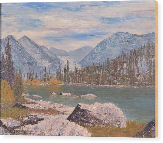 High Sierra Lake Wood Print