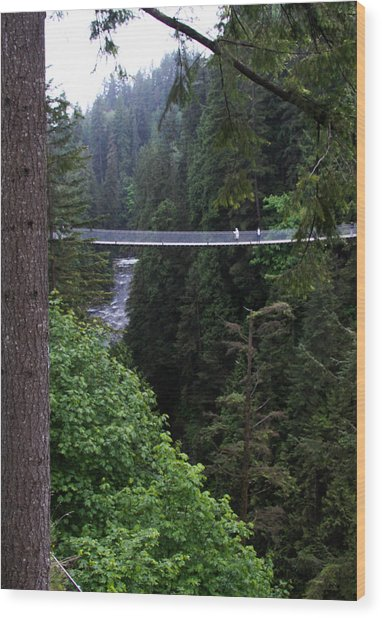 High Swinging Bridge Wood Print by Qing