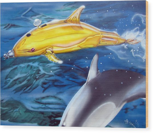 High Tech Dolphins Wood Print