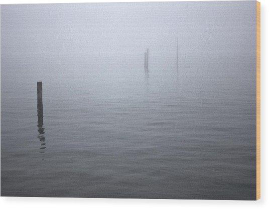 High Tide Sentinels Wood Print by Stephen Prestek