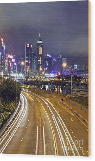 Highway To Hong Kong Wood Print by Lars Ruecker