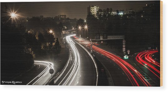 Wood Print featuring the photograph Highway's Lights by Stwayne Keubrick