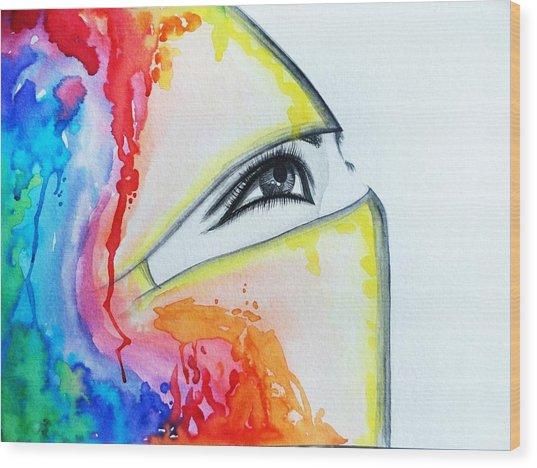 Hijab Veil Wood Print by Salwa  Najm