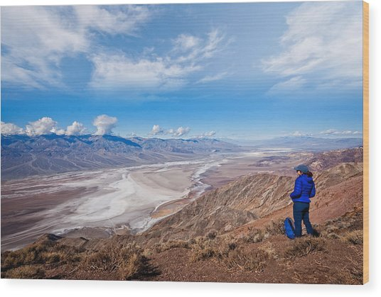 Hiker At Dante's View Wood Print by JeffGoulden