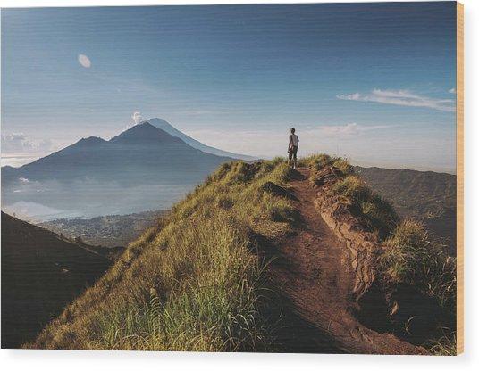 Hiker Staying On Top Of  Mount Batur Wood Print by Alex Grabchilev / Evgeniya Bakanova