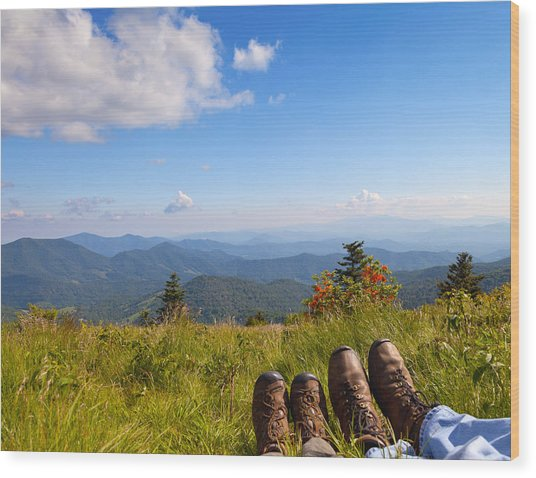 Hikers With A View On Round Bald Near Roan Mountain Wood Print