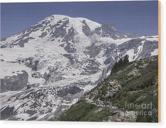 Hiking Mt Rainier Wood Print