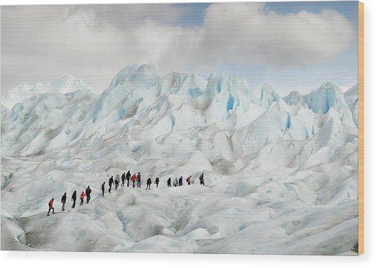 Hiking On Perito Moreno Wood Print