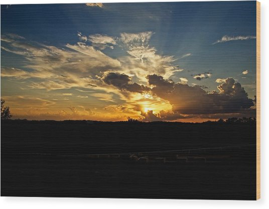 Hill Country Sunset Wood Print