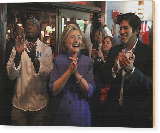 Hillary Clinton Holds Campaign Rally In Wood Print