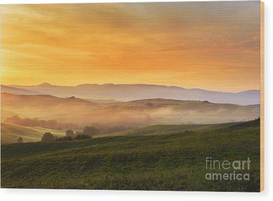 Hills And Fog Wood Print