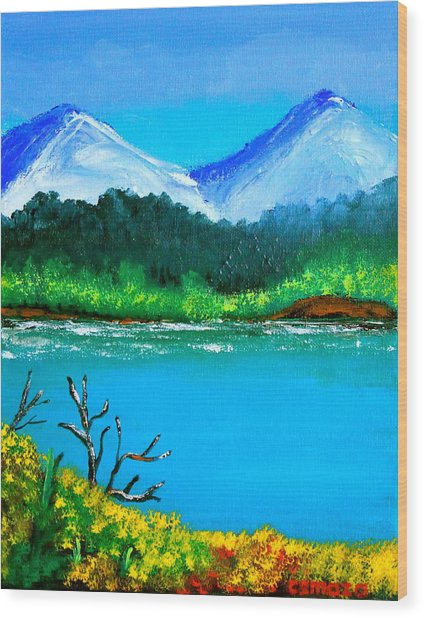 Hills By The Lake Wood Print