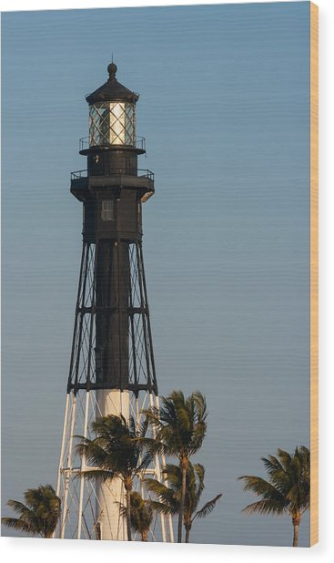 Hillsboro Inlet Lighthouse In The Evening Wood Print