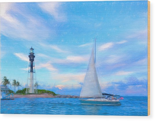 Hilsboro Lighthouse Colored Pencil Wood Print by Michael  Wolf