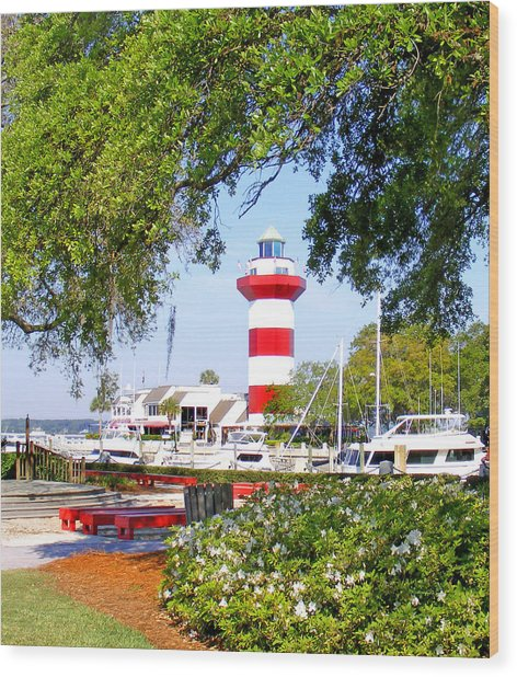 Hilton Head Lighthouse And Marina Wood Print