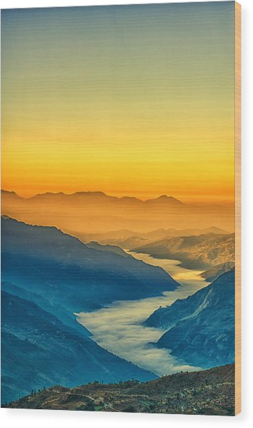 Himalaya In The Morning Light Wood Print