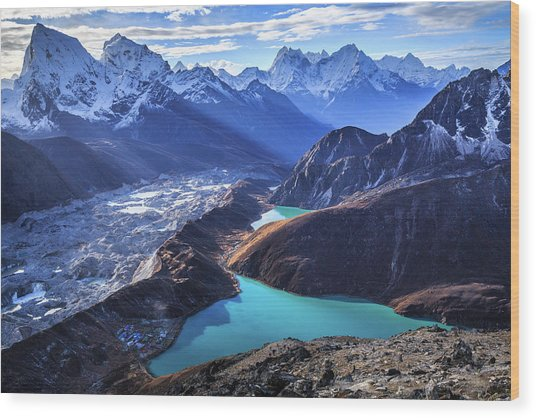 Himalaya Landscape, Gokyo Ri Wood Print