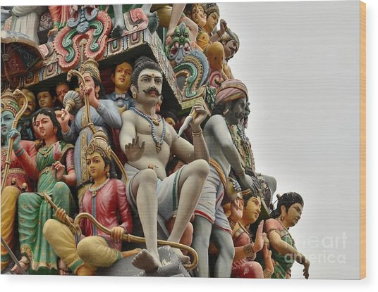 Hindu Gods And Goddesses At Temple Wood Print
