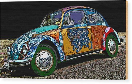 Hippie Vw Bug Wood Print