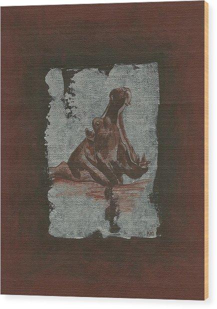 Hippo Wood Print