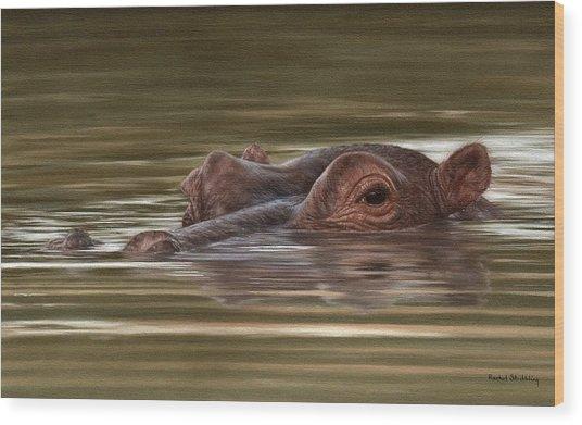 Hippo Painting Wood Print