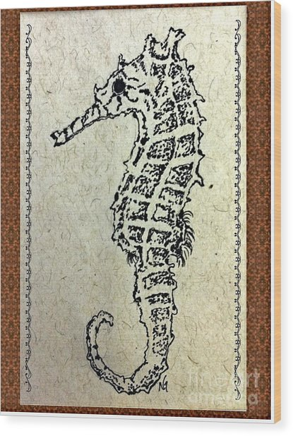 Hippocampus Wood Print by Norma Gafford